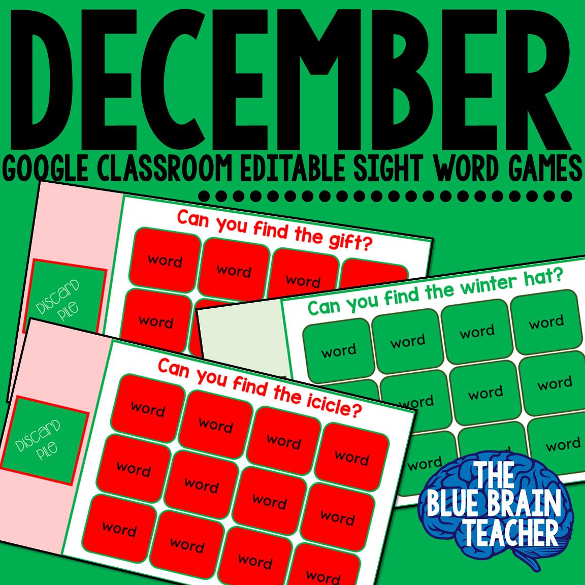 December Sight Words