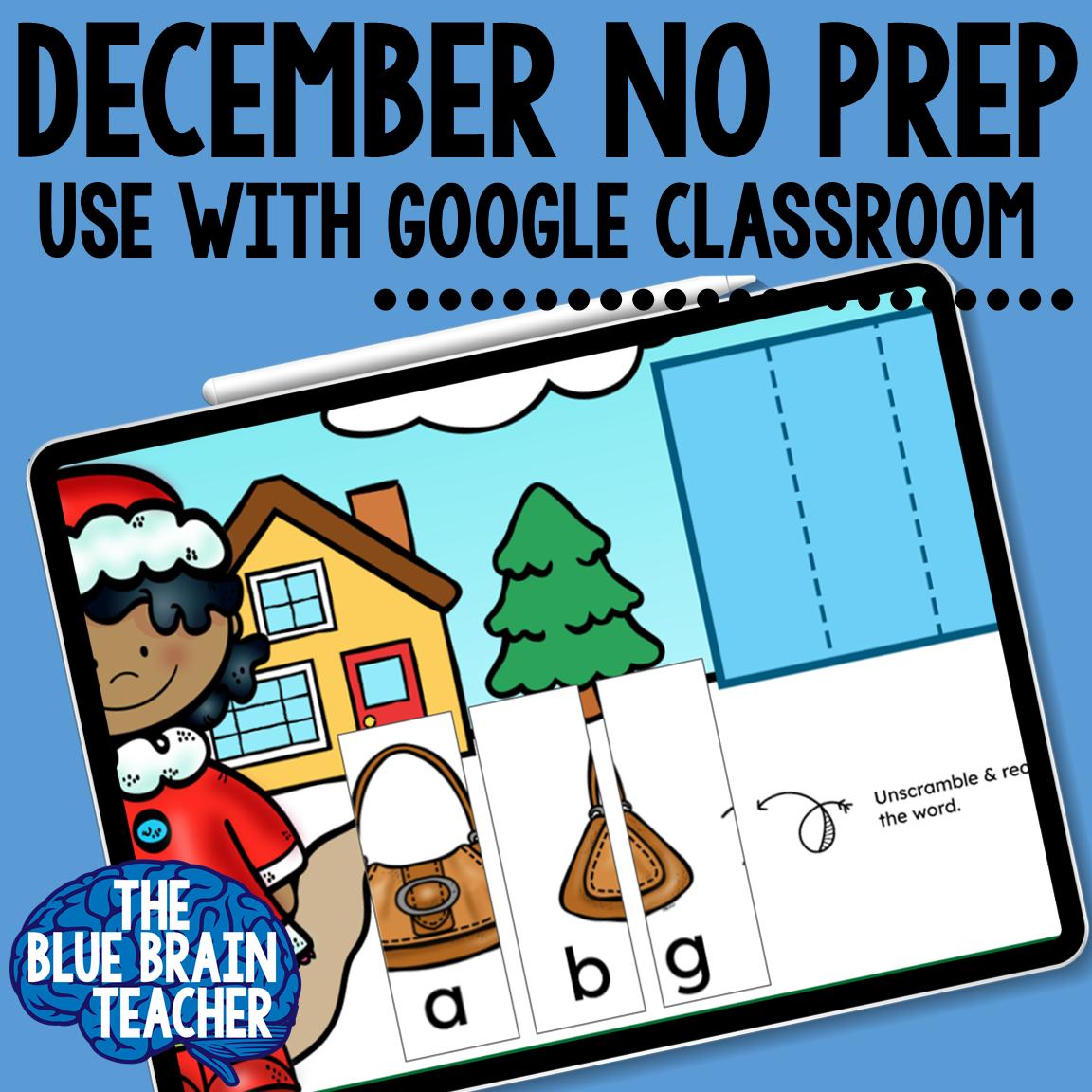 December Monthly Google Slides Activities for Kindergarten